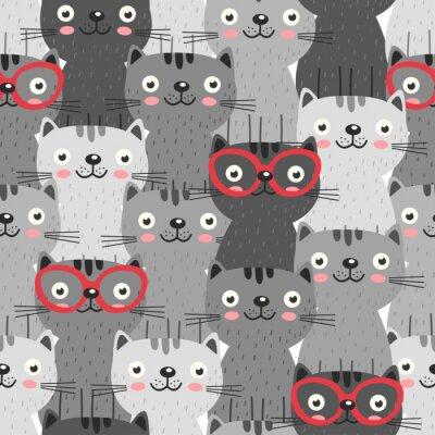 Fototapeta bezszwowy wzór z szarymi kotami w czerwonych szkłach - wektorowa ilustracja, eps