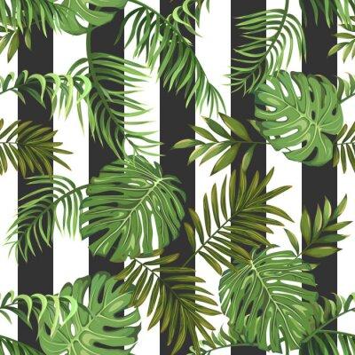 Fototapeta Bezszwowy wzór z tropikalnymi palma liśćmi i pionowo lampasami