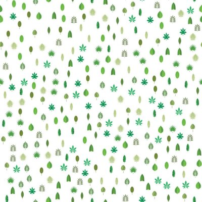Fototapeta Bezszwowy wzór z zielonymi tropikalnymi liśćmi. Kwiecisty tło, wektorowa ilustracja na białym tle.