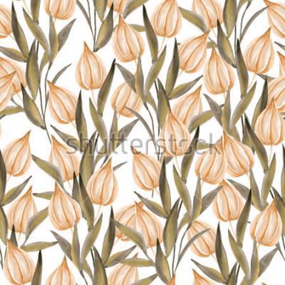 Fototapeta Bezszwowy wzór z zimy wiśnią na białym tle. Akwarela wyciągnąć rękę