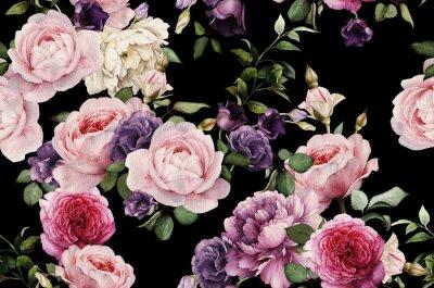 Bezszwowych floral deseniu z ró ?, akwarela