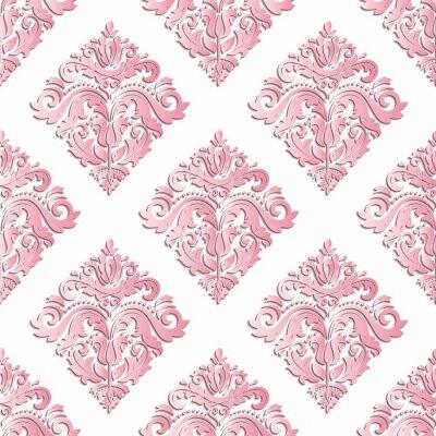 Fototapeta Bezszwowych orientalne różowy ozdoba. Elegancki orientalny wzór z elementami 3D, cienie i podkreśla