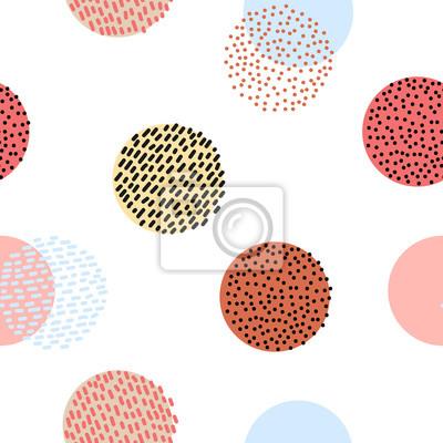 Bezszwowych stylizowane kolorowe grafiki deseń. Scandinavian zabawy ozdoba. Cute kolorowe projektu z kropek i linii.