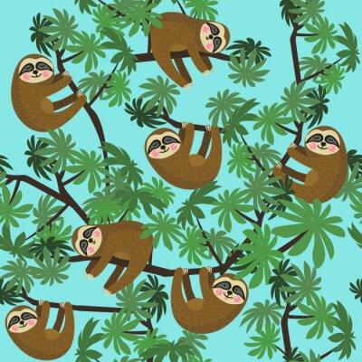 Fototapeta Bezszwowych wzór z cute dżungli sloths na niebieskim tle, ilustracji wektorowych.