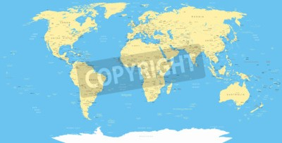 Fototapeta Biała Mapa świata i ikony nawigacyjne - ilustracji.
