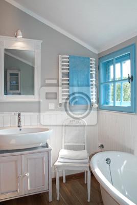 Biała Shabby Chic Rustykalne łazienka Z Wanną Retro Fototapety Redro