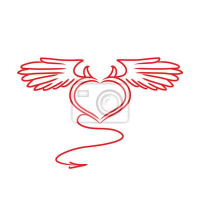 Białe I Czerwone Serce Z Skrzydła I Ogon Rogi Tatuaż Fototapety Redro