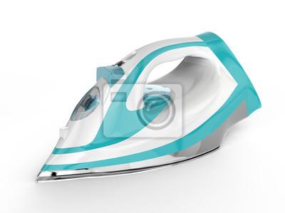 Fototapeta Białe i niebieskie żelazko elektryczne