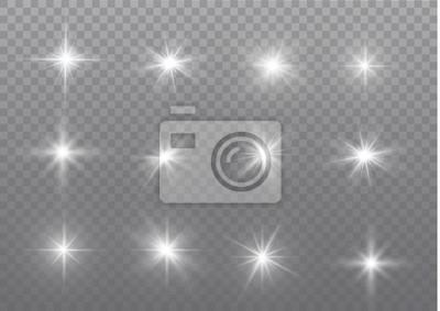 Fototapeta Białe iskierki błyszczą specjalny efekt świetlny. Wektor błyszczy na przezroczystym tle. Boże Narodzenie abstrakcyjny wzór. Musujące magiczne cząsteczki kurzu.
