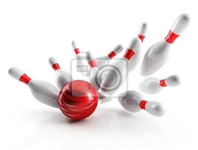 białe kręgle i czerwone kulki na białym tle