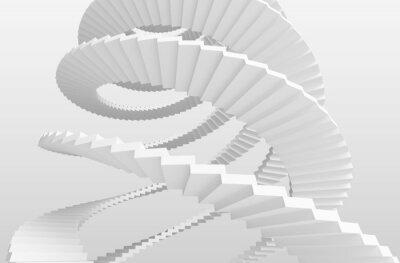 Fototapeta Białe schody spiralne na szarym tle. 3d ilustracji