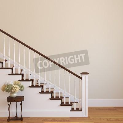 Białe Schody W Nowoczesnym Domu 3d Render Fototapety Redro