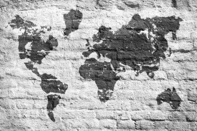 Fototapeta Białe ściany i mapa obraz świata