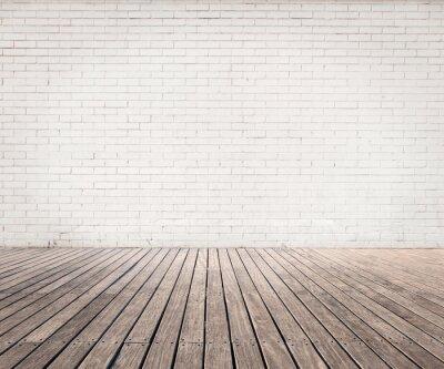 Fototapeta białe ściany i podłogi z drewna cegły