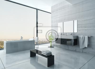 Białe Wnętrza łazienki Z Betonowych ścianach I Podłodze Kafelki Fototapety Redro