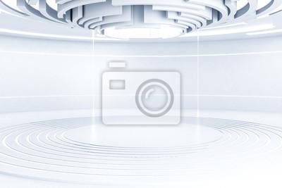 Fototapeta Białe wnętrze futurystycznego pokoju, sufit
