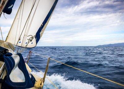 Fototapeta Białe żagle jachtów na tle morza