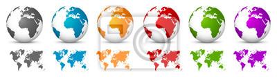 Fototapeta Biały 3D Vector Globusy z mapy świata w tym samym kolorze. Planet Earth Collection z kolorowych kontynentach