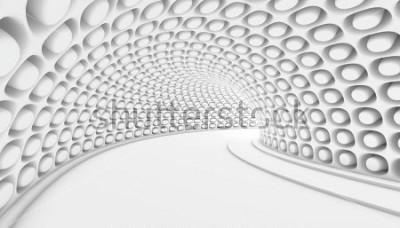 Fototapeta Biały Abstrakcjonistyczny Tunelowy 3d tło. Renderowania 3D ilustracji