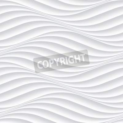 Fototapeta Biały bez szwu tekstury. Falista tło. Wnętrze dekoracja ścienna. 3D wektora wnętrza wzór paneli ściennych. Wektor białym tle abstrakcyjnych fale.