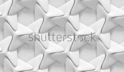 Fototapeta Biały cieniowany abstrakcyjny wzór geometryczny. Styl papieru origami. Renderowania 3D.