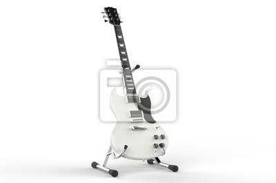 Fototapeta Biały gitara elektryczna na statywie