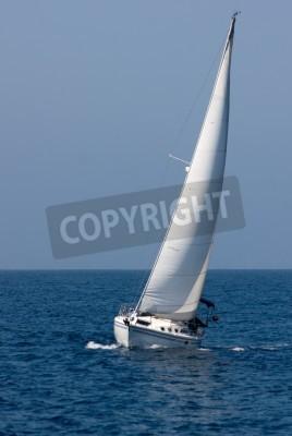 Fototapeta Biały jachtu w toku