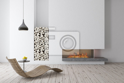 Fototapeta Biały kominek z drewnianym fotelem