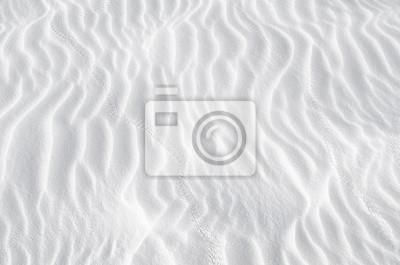 Fototapeta Biały piasek tekstury tła z fali wzór i owadów ślady