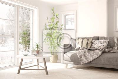 Fototapeta Biały pokój z sofą i zimowy krajobraz w oknie. Skandynawski wystrój wnętrz. Ilustracja 3D