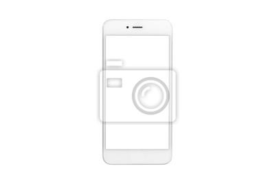 Fototapeta Biały smartphone z pustym ekranem na białym tle