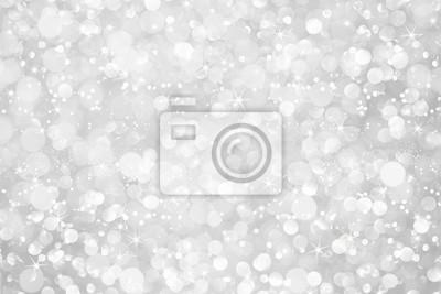 Fototapeta biały srebrny brokat bokeh abstrakcyjne tło z gwiazdami