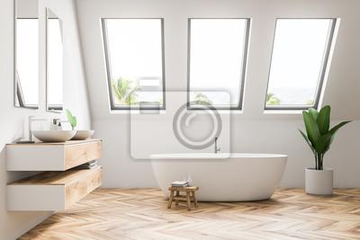 Fototapeta Biały strychowy łazienka wnętrze widok z boku