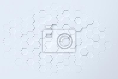 Fototapeta Biały sześciokątny abstrakta 3d tło