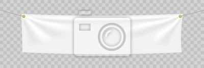 Fototapeta Biały tekstylny sztandar z fałdami