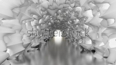 Fototapeta Biały tunel i światło. Ilustracja 3D, renderowania 3d.