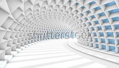 Fototapeta Biały tunel streszczenie z niebieskimi prostokątami. Renderowania 3D ilustracji