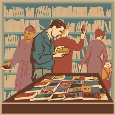 Fototapeta Biblioteka pełna zaczytanych ludzi