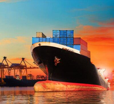 Fototapeta bic statków handlowych w imporcie, eksport molo wykorzystanie do TRANSPO statku