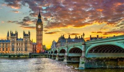 Fototapeta Big Ben and Westminster Bridge in London at sunset - the United Kingdom