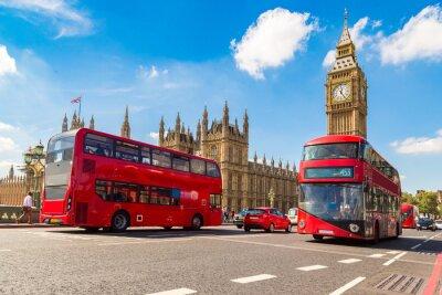 Fototapeta Big Ben, Westminster Bridge, czerwony autobus w Londynie