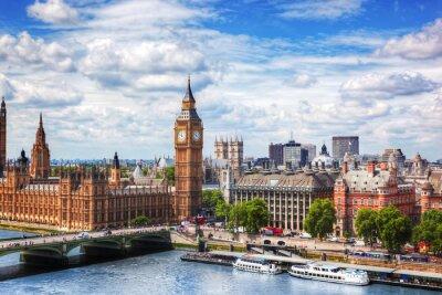 Fototapeta Big Ben, Westminster Bridge na Tamizie w Londynie, UK. słoneczny dzień