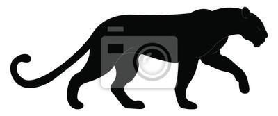Fototapeta Big black panther, illustration, vector on white background.
