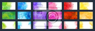 Fototapeta Big bundle set of bright vector colorful watercolor background for poster, brochure, card or flyer