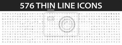 Fototapeta Big collection of 576 thin line icon. Web icons. Business, finance, seo, shopping, logistics, medical, health, people, teamwork, contact us, arrows, technology, social media, education, creativity.