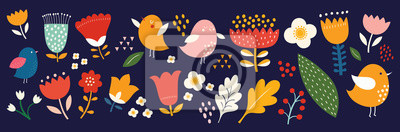 Big collection of flowers, leaves, birds, and spring symbols