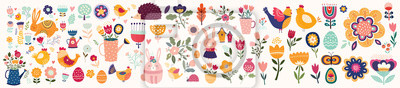 Fototapeta Big collection of flowers, leaves, birds, bunny and spring symbols