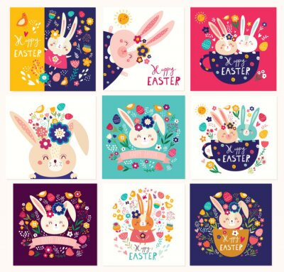 Fototapeta Big collection of vector Easter holiday cards with cute Easter bunnies, flowers, leaves, birds.
