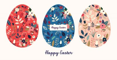 Fototapeta Big collection of vector Easter holiday cards with Easter eggs