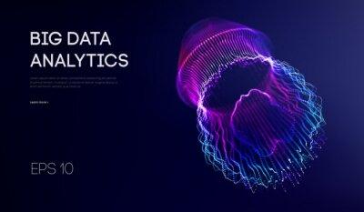 Fototapeta Big data visualization. Background 3d .Big data connection background. Cyber technology Ai tech wire network futuristic wireframe data visualisation. Vector illustration . Artificial intelligence .